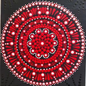 Lángolás, Otthon & Lakás, Dekoráció, Mandala, Festett tárgyak, Festészet, Erőt szeretetet, örömöt és szenvedélyt sugárzó mandala., Meska