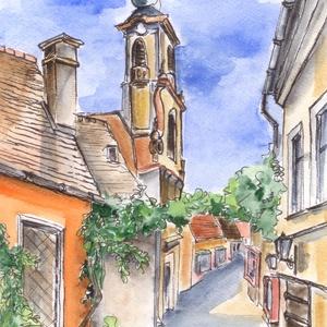Szentendrei séta trombitavirágok között, Művészet, Művészi nyomat, Festészet, Mindenmás, Szentendrei sétám gyakran vezet a Templomdombról ezen a kis utcán át a Fő térre.  Régiség bolt és eg..., Meska