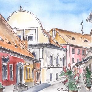 Szentendrei séta a Fő téren, Művészet, Művészi nyomat, Festészet, Mindenmás, A Fő téren érdemes szemünkkel a színes barokk házak minden zegét-zúgát bejárni. Évszázadok mesélnek ..., Meska