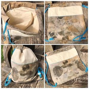 Pamutvászon hátizsák, Hátizsák, Hátizsák, Táska & Tok, Festett tárgyak, Varrás, Bélelt pamutvászon hátizsák, ecoprint technikával festve. Belul egy zsebet is rejt magában.\nMosogépb..., Meska