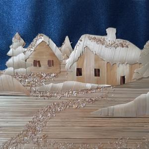 Szalmakép, Karácsony & Mikulás, Festészet, Fonás (csuhé, gyékény, stb.), szalmából készült ez a tanyát ábrázoló kép. Mérete:21x 16 cm.\nKérésre bármilyen méretben készítek ha..., Meska
