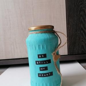 Festett üveg, Otthon & lakás, Dekoráció, Dísz, Festett tárgyak, 17 cm magas, lakás dísznek, vagy tárolásra, Meska