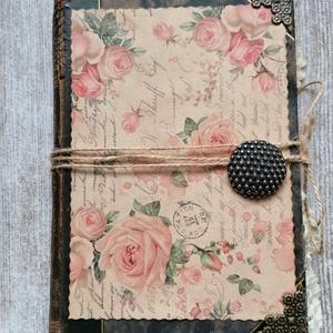 Vintage napló kávéval festett lapokkal , Album & Fotóalbum, Emlék & Ajándék, Esküvő, Papírművészet, Könyvkötés, Egy régi gyönyörű könyvet alakítottam át naplóvá, lapjait kávéval festettem be. A napló mérete 13,5x..., Meska