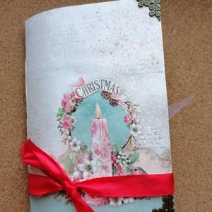 Vintage stílusú karácsonyi emléknapló , Otthon & Lakás, Papír írószer, Jegyzetfüzet & Napló, Könyvkötés, Papírművészet, Vintage stílusú karácsonyi emléknapló kávéval festett oldalakkal, kártyákkal, kepeslapokkal, vintage..., Meska