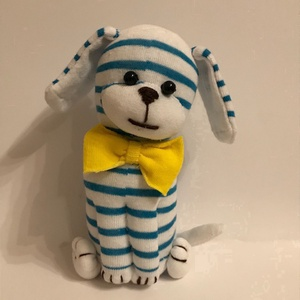 Kék csíkos kutyus, Játék & Gyerek, Plüssállat & Játékfigura, Kutya, Varrás, Kedves, puha kis figura ez a csíkos  kutyus. Ajánlom játéknak, de dekorációnak is.\nMagassága: 28 cm...., Meska