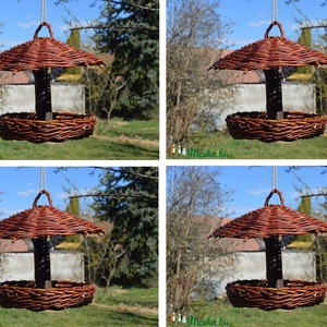 4 db rusztikus madáretető natúr fűzvesszőből, Otthon & lakás, Lakberendezés, Állatfelszerelések, Tárolóeszköz, Kosár, Fonás (csuhé, gyékény, stb.), Ezt a 4 rusztikus madáretetőt natúr, hántolatlan (héjas) fűzfavesszőből fonom hagyományos kosárfonás..., Meska