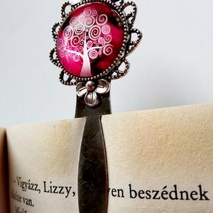 Pink életfás könyvjelző - Üveglencsés, Otthon & lakás, Naptár, képeslap, album, Könyvjelző, Papírművészet, Mindenmás, Könyvtárosként az olvasás és a könyvek életem fontos részei. És hogy sose veszítsem el a fonalat az ..., Meska