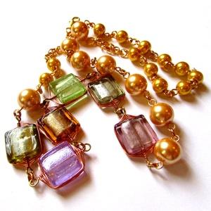 A szerelem színei - nyaklánc, Ékszer, Nyaklánc, Ékszerkészítés, Hat különböző színű, kézzel készített pasztellszín lámpagyöngy rézdrót foglalatban, üvegtekla gyöngy..., Meska