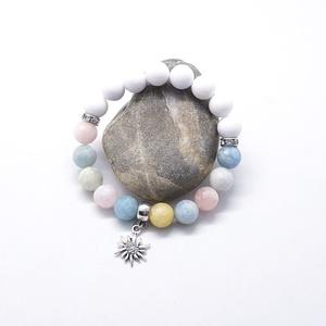 Virágom - berill, jáde drágakő karkötő, Ékszer, Karkötő, Ékszerkészítés, Gyöngyfűzés, gyöngyhímzés, 10 mm-es berill drágakő gyöngyökből, fehér jáde ásvány gyöngyökből,ezüst színű csillogó rondellekből..., Meska