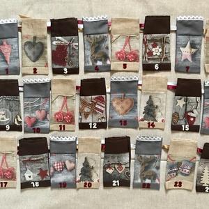 Textil adventi naptár, 24 db egyedi számozott zsák selyemszalaggal, Adventi naptár, Karácsony & Mikulás, Otthon & Lakás, Varrás, Karácsonyi adventi naptár textilzsákocskákkal. \nTartalmaz 24 db egyedi  számozott zsákot, hozzávarro..., Meska