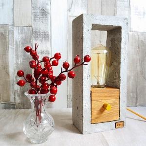 Design beton- tölgyfa hangulatlámpa fényerőszabályzós (KissDesignStudio) - Meska.hu
