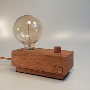 Hangulatos tölgyfa dekor lámpa, fényerőszabályzós  , Lakberendezés, Otthon & lakás, Lámpa, Hangulatlámpa, Famegmunkálás, Egyedi tölgyfából készült dekor lámpa, fényerő szabályzóval. A régmúlt idők hangulatát idéző Edison ..., Meska