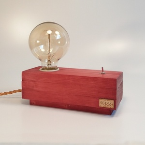 Hangulatlámpa Edison izzóval, Lakberendezés, Otthon & lakás, Lámpa, Asztali lámpa, Hangulatlámpa, Festett tárgyak, Famegmunkálás, Egyedi készítésű fa asztali, éjjeli design lámpa. Hangulatos megjelenésével, retro stílusával a napp..., Meska