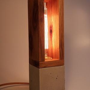 Beton- tölgyfa hangulatlámpa Edison izzóval  (KissDesignStudio) - Meska.hu