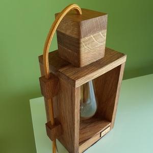 Design falámpa Edison izzóval, Otthon & lakás, Lakberendezés, Lámpa, Hangulatlámpa, Festett tárgyak, Famegmunkálás, Egyedi készítésű tölgyfa asztali, éjjeli design lámpa. Hangulatos megjelenésével, retro stílusával a..., Meska