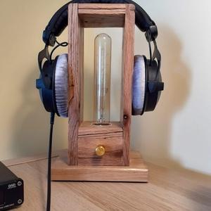 Fejhallgató tartó lámpa Edison izzóval (KissDesignStudio) - Meska.hu