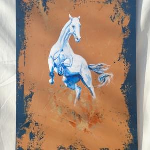 Ágaskodó fehér ló , Művészet, Festmény, Akril, Festészet, Akrill technikával készült festmény a hordozó farostlemez. Keret nélkül árulom.\nMéretei: 51 cm x 78 ..., Meska