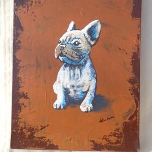 Cuki francia bulldog kölyök, Művészet, Festmény, Akril, Festészet, Akrill-vászon technikával készült festmény, modern alapozási technikával. Keret nélkül árulom, de íg..., Meska