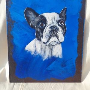 Francia bulldog portré, Művészet, Festmény, Akril, Festészet, Akrill technikával készült festmény a hordozó farostlemez. Keret nélkül árulom.\nMéretei: 33,5 cm x 2..., Meska