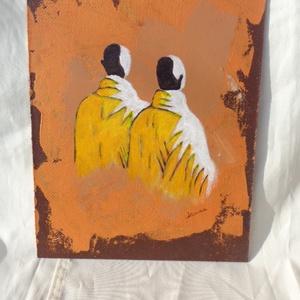 Szerzetesek, Művészet, Festmény, Akril, Festészet, Akrill technikával készült festmény a hordozó farostlemez. Keret nélkül árulom.\nMéretei: 33,5 cm x 2..., Meska
