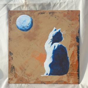 Cica holddal, Művészet, Festmény, Akril, Festészet, Akrill technikával készült festmény a hordozó farostlemez. Keret nélkül árulom.\nMéretei: 36,5 cm x 3..., Meska