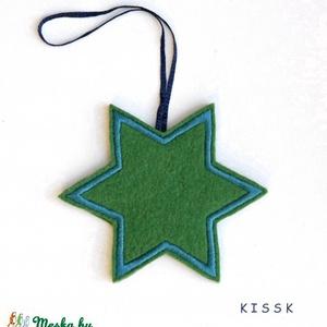 Zöld - türkiz csillag karácsonyfadísz, Dekoráció, Otthon & lakás, Dísz, Ünnepi dekoráció, Karácsonyi, adventi apróságok, Hímzés, Nemezelés, Saját tervezésű, egyedi hímzett filc csillagdísz, mindkét oldalán türkiz selyemmel hímezve. \nA csill..., Meska