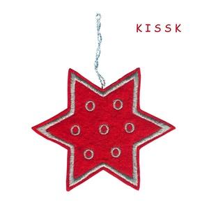 Piros - ezüst csillag karácsonyfa dísz, Karácsony & Mikulás, Karácsonyfadísz, Hímzés, Nemezelés, Saját tervezésű, egyedi hímzett filc csillag, dísz. \nMérete: 9,5 x 9,5 cm\nAjándéknak, ajándékkísérőn..., Meska