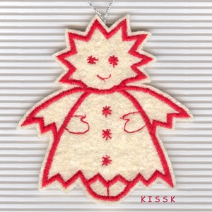 Angyalka filc karácsonyi dísz, Karácsony & Mikulás, Karácsonyfadísz, Hímzés, Baba-és bábkészítés, Saját tervezésű, egyedi, piros cérnával hímzett filc dísz.\n\nMérete: 9 x 8 cm\n\nAjándéknak, ajándékkís..., Meska