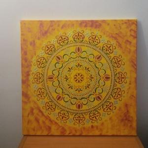 Mandala falikép, Otthon & lakás, Dekoráció, Kép, Festészet, Kedves Látogatóm!\nSzívvel-lélekkel készítettem ez a mandalát,amely a szobád dísze lehet.Színei gyógy..., Meska