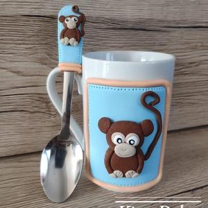 Majmóca szett, Otthon & lakás, Konyhafelszerelés, Bögre, csésze, Gyurma, A cuki kis majmóca süthető  gyurmából készült. Nagyon jó ajándék kislányoknak, kisfiúknak. A bögre ..., Meska