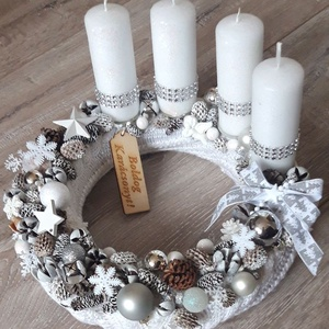 Karácsonyi álom adventi koszorú, Karácsony, Karácsonyi dekoráció, Virágkötés, Az karácsony meghittségét, az otthon melegét adó hangulatos fények, csillogás és a szívekben rejlő s..., Meska