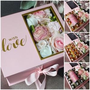 """Meglepetés virágdoboz, Otthon & Lakás, Virágkötés, Igazán különleges, exkluzív ajándék, minden alkalomra tökéletes. A \""""Meglepetés dobozban\"""" egy csodás ..., Meska"""