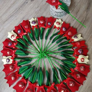 Édes kis figyelmesség-textil tulipán bonbonnal, Otthon & Lakás, Dekoráció, Varrás, Valentin napi / Nőnapi kedves ajándék kicsiknek és nagyoknak. Nemcsak szép, de finom is. Egy textil ..., Meska