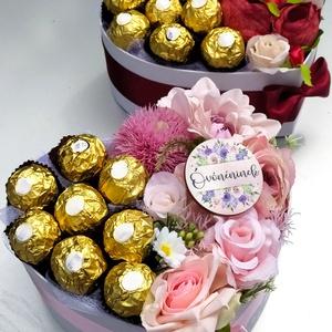 Virágbox bonbonnal, Otthon & Lakás, Dekoráció, Virágkötés, Különleges ajándék különleges alkalmakra. \nLegyen szó születésnapról, esküvőről, ballagásról, lakása..., Meska