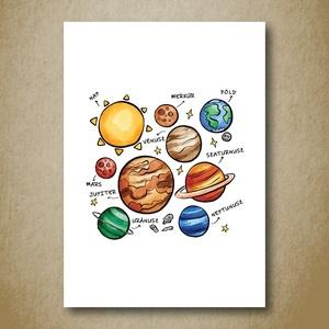 Naprendszer, Űr, bolygók babaszoba falikép, gyerekszoba dekoráció, print -zöld, sárga, barna, szürke - fiú, lány - A4-es (kkreabeaa) - Meska.hu