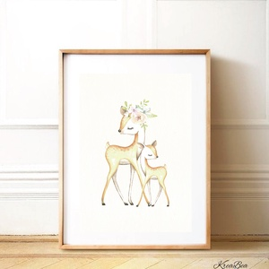 Erdei állatos vízfesték, akvarell falikép, lány babaszoba dekoráció - őz, őzike- rózsaszín, barna -1db A4-es (kkreabeaa) - Meska.hu