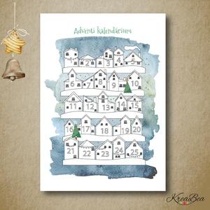 Adventi kalendárium kifestő, színező - házikó- A4-es, Játék & Gyerek, Készségfejlesztő & Logikai játék, A4-es méretű színezhető adventi kalendáriumot készítettem a kicsik örömére.  Ezzel a kedves kis házi..., Meska