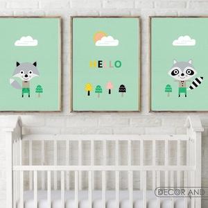 Fiú állatos babaszoba falikép, gyerekszoba dekoráció - róka, mosómedve - szürke, zöld, kék - 3db A4-es, Otthon & Lakás, Dekoráció, Kép & Falikép, Először szerkesztettem egy mósómedvét, aztán egy rókát. Ezek után gondoltam milyen jó lenne belőlük ..., Meska