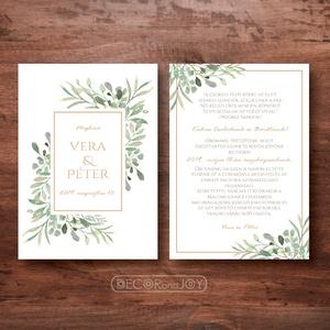 """Greenery esküvői meghívó -  zöld leveles meghívó -modern, elegáns meghívó - dupla oldalas - zöld esküvő - 10x14cm, Esküvő, Meghívó, ültetőkártya, köszönőajándék, Esküvői dekoráció, Fotó, grafika, rajz, illusztráció, """"Nemes egyszerűség, csendes nagyság"""" jut eszembe erről a meghívóról, melyet az utolsó képen látható..., Meska"""