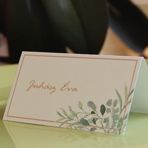 """Esküvői dekoráció - ültetőkártya, név kártya - greenery - zöld leveles -modern, elegáns - sátras - 9,4 x 5,0 cm, Ültetési rend, Meghívó & Kártya, Esküvő, Fotó, grafika, rajz, illusztráció, \""""Nemes egyszerűség, csendes nagyság\"""" jut eszembe erről a dizájnról. Elegáns, egyszerű, tiszta.\n\nAz Ü..., Meska"""