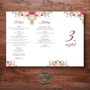 Esküvői dekoráció - menükártya, asztalszám - háromszög - greenery - mályva, rózsaszín, barackvirág,  - 20 x 9,4 cm, Esküvő, Meghívó & Kártya, Menü, Fotó, grafika, rajz, illusztráció, Ez a virágos menükártya tökéletesen illik rózsaszín, mályva, barackvirágszínű esküvőre legyen az áká..., Meska