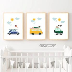 Autós babaszoba falikép, dekoráció, print, grafika szett - autó, busz, terepjáró, felhő, nap - 3db A4-es, Gyerek & játék, Gyerekszoba, Baba falikép, Otthon & lakás, Dekoráció, Fotó, grafika, rajz, illusztráció, Autós falikép szett, felhőkkel napocskával.  Ideális fiúszoba, babaszoba dekoráció. Az autók színe a..., Meska