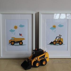 Munkagépes babaszoba falikép, fiúszoba dekoráció, grafika szett - dömper bobcat markoló felhő nap madár - 2db A4-es, Otthon & Lakás, Dekoráció, Kép & Falikép, Kisfiam szobájába frissítettem az anno a  felhős madaras lampájához készített autós szettet, a mosta..., Meska
