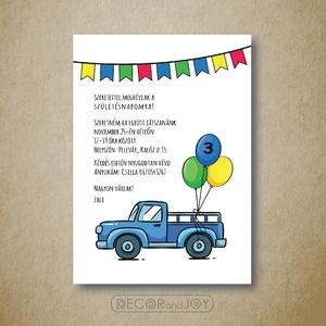 Szülinapi meghívó, babazsúr meghívó - autós- fiú - kék zöld sárga - 10x14cm, Esküvő, Meghívó, ültetőkártya, köszönőajándék, Gyerek & játék, Játék, Fotó, grafika, rajz, illusztráció, Autós születésnapi meghívót készítettem a kisfiam szülinapjára. A meghívó más eseméynre is használha..., Meska