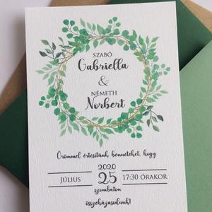 Greenery esküvői meghívó  - natúr esküvői meghívó - zöld esküvő - kraft meghívó - 10x14cm, Esküvő, Meghívó, ültetőkártya, köszönőajándék, Esküvői dekoráció, Fotó, grafika, rajz, illusztráció, Zöld esküvői meghívó különleges dátum elhelyezéssel. Válasszatok hozzá esküvői dekorációtokhoz színb..., Meska