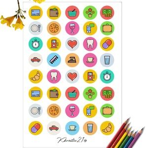 Színes ikonok 1., Otthon & Lakás, Papír írószer, Egyedi szerkesztés, Fotó, grafika, rajz, illusztráció, Ugye mennyivel könnyebb ha kis színes ikonok figyelmeztetnek arra, hogy ne felejtsd el pl. elvinni a..., Meska