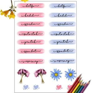 A hét napjai, Otthon & Lakás, Papír írószer, Egyedi szerkesztés, Fotó, grafika, rajz, illusztráció, Szereted az egyszerű színeket,a gyönyörű betűket, de úgy érzed, hogy a te kézírásod nem valami szép ..., Meska