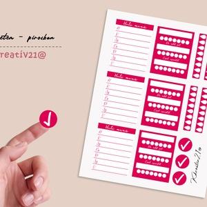 A hetem - pirosban, Otthon & Lakás, Papír írószer, Egyedi szerkesztés, Fotó, grafika, rajz, illusztráció, Szereted egyben látni a hetedet? Van megoldás! Jelölők és kiegészítő matricák a naplódhoz. Felhaszná..., Meska