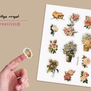 Vintage virágok, Otthon & Lakás, Papír írószer, Egyedi szerkesztés, Fotó, grafika, rajz, illusztráció, Egy kis nosztalgia virágokkal.\nTermék jellemzői:\n- egy A/5-ös lapon 11 db színes matrica található\n-..., Meska