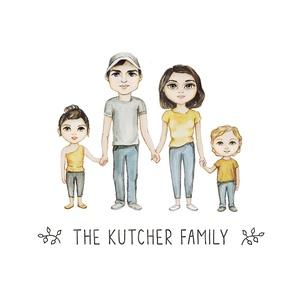 Egyedi családi portré, családi illusztráció, családi kép, aranyos családi illustráció, fal dekoráció, fali kép, Portré, Portré & Karikatúra, Művészet, Festészet, Egyedileg, a megrendelő fényképének megfelelően készült családi illustráció, cartoon stílusban. A me..., Meska